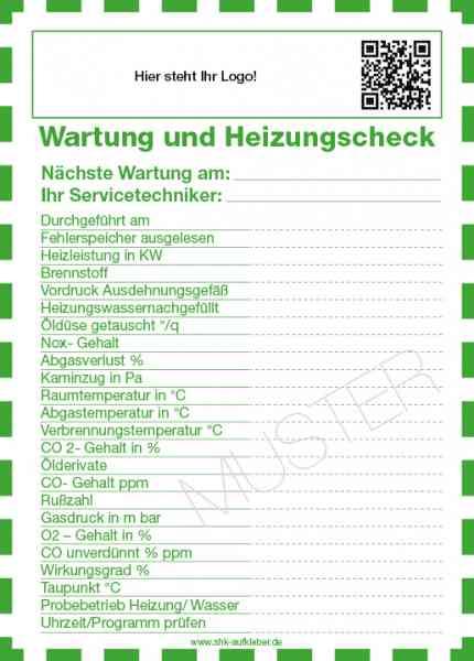 Aufkleber Wartung und Heizungscheck 148 x 105 mm beschriftbar