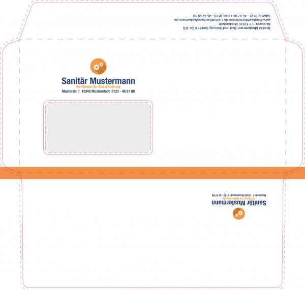 Beidseitig bedruckte Briefumschläge mit Logo
