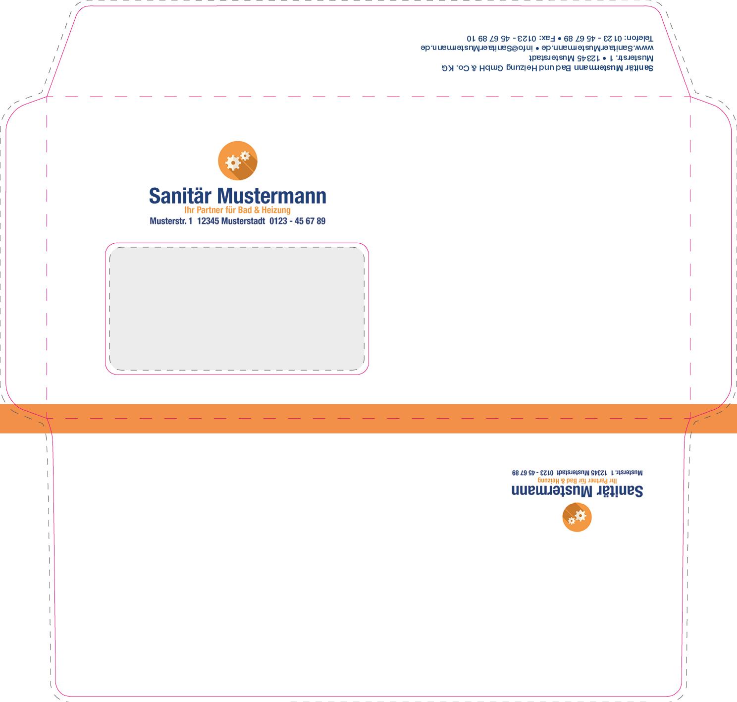 Beidseitig bedruckte briefumschläge mit logo shk direkt onlineshop