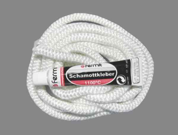 Rundschnur / Dichtschur Ø 6 - 12 mm inklusive Tube Schamottekleber