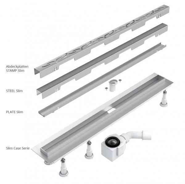 Wasserablaufrinne SET SLIM CASE 35mm mit befliesbarer Abdeckplatte und Siphon VIEGA